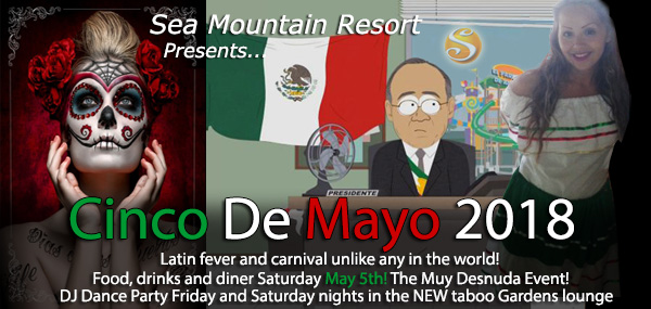 Cinco de Mayo Special Events at Sea Mountain Nude Lifestyles Spa Resorts Palm Springs and Las Vegas