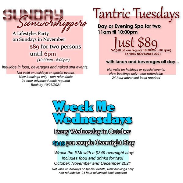 Sea Mountain Sunday Sunworshippers, Tantric Tuesday and Wreck Me Wednesdays Offers