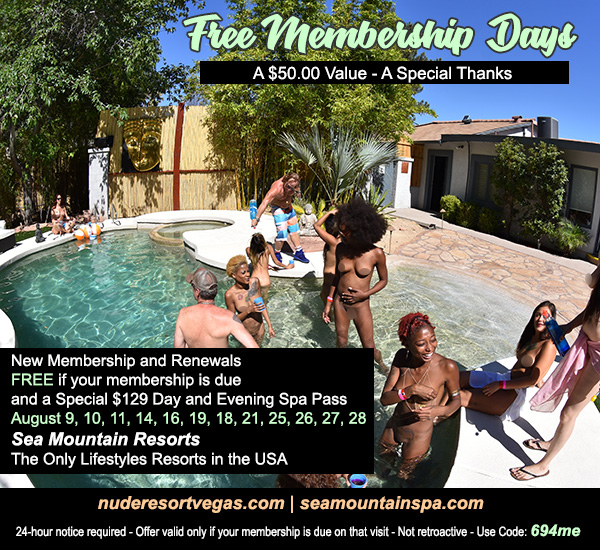 Sea Mountain Nude Lifestyles Spa Resorts - Free Membership Day Special Offer
