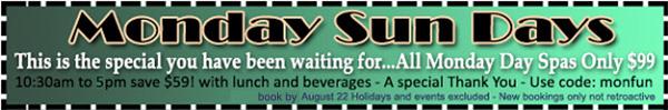 Sea Mountain Spa Monday Sun Day Offer