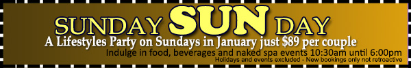 Sunday Sunworshippers Special Offer at Sea Mountain Nude Lifestyles Spa Resort 760-251-4744