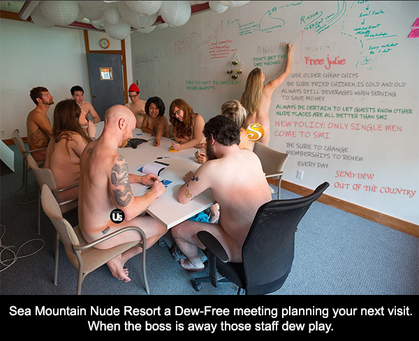 Sea Mountain Nude Resort a Dew-Free meeting planning your next visit.  When the boss is away those staff dew play...