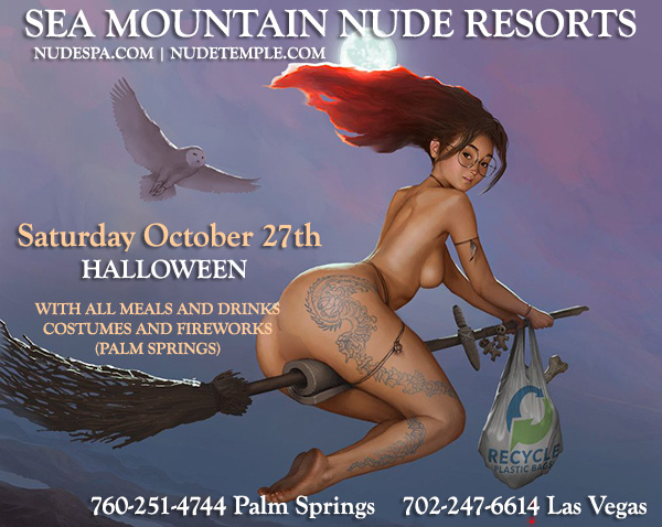 Sea Mountain Nude Lifestyles Spa Resorts Las Vegas and Palm Springs - Helloween Halloween Rage electric Magic international costume and fantasy festival SMI - All inclusive