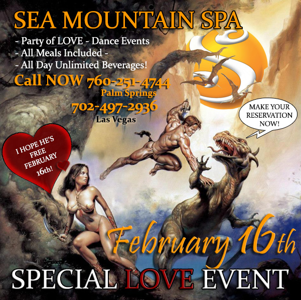 Valentines Love events at Sea Mountain Nude Resorts Las Vegas and Palm Springs - Love - February 16th is our LOVE and Valentines event with the open bar and all meals and massive lingerie dance event