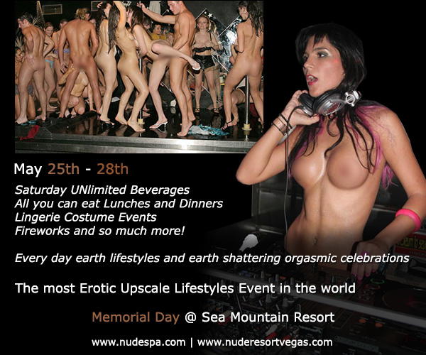 Memorial Day Special Events at Sea Mountain Nude Lifestyles Spa Resorts Palm Springs and Las Vegas