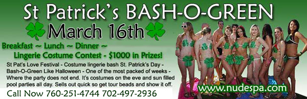 Sea Mountain Nude Lifestyles Spa Resorts las Vegas and Palm Springs - St Patrick's Day Special Events