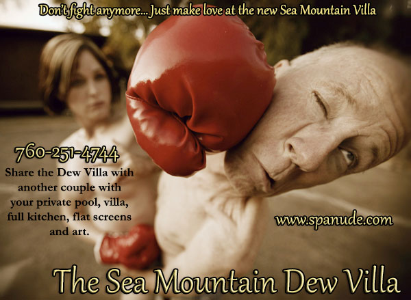 Don't fight anymore... Just make love at the new Sea Mountain Villa - 760-251-4744 Share the Dew Villa with another couple with your private pool, villa, full kitchen, flat screens and art.  www.spanude.com - The Sea Mountain Dew Villa