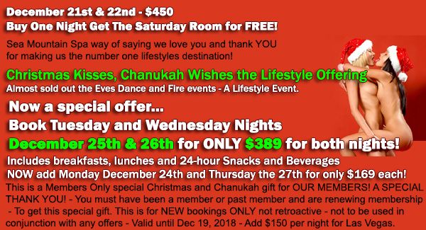 Sea Mountain Nude Lifestyles Spa Resorts Palm Springs and Las Vegas Christmas Week Special Offers